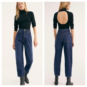 We The Free Pleated Straight-Leg High Rise Jeans